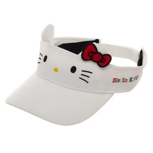 Hello Kitty Visor Hat Cat Ears White Bow SuperCute